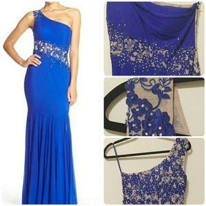 Xscape Embellished One shoulder Mesh Mermaid Gown